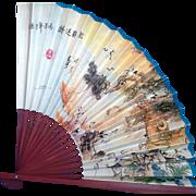 Oriental Asian Paper Fan Bamboo Wood Cranes