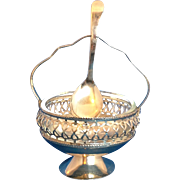 English Silver Plate Glass Condiment Server Dish Spoon Caddy