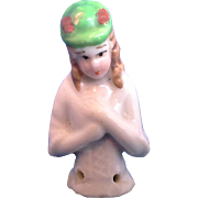 Tiny German Glazed Porcelain Half Doll Pin Cushion Green Hat 1 3/4 IN