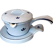 Dru Tulip Blue Enamel Cast Iron Butter Warmer 3 Piece Set