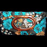 Lady's Pride Satin Tote Bag Purse Root Beer Lucite Oval Handle Blue Black Brown ...