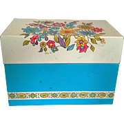 Ohio Art Blue Floral Recipe Box With Vintage Cards