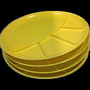 Set of 4 Vintage Butterscotch Tone Japanese Divided Sushi Fondue Melmac Plates