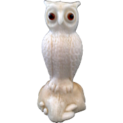 Westmoreland Fenton Owl Solid Glass Figurine White Caramel Slag Glass