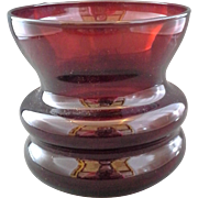 Royal Ruby Anchor Hocking Whirly Twirly Short Vase Spittoon Red Glass