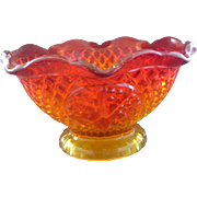 Indiana Glass Canterbury 10 IN Sunset Amberina Footed Crimped Serving Bowl 1980s