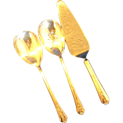 Holmes & Edwards Spring Garden Silverplate Serving Pieces Solid Casserole Spoon Pierced Spoon