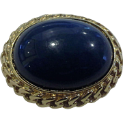 Trifari Deep Blue Oval Lucite Domed Cabochon Pin Brooch Gold Tone Chain