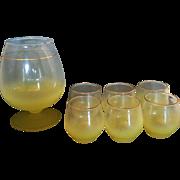 Blendo West Virginia Glass Yellow Martini Pitcher Tumblers Set