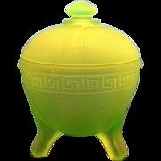 Vaseline Uranium Green Glass Frosted Greek Key Powder Jar 1930s Depression L.E. Smith Taussaun