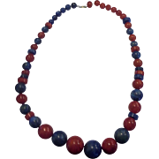Red Blue Marbled Lucite Ball Disc Graduated Bead Necklace