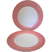 Cremax Bordette Pink Sandwich Plate Platter Chop Plate Pair MacBeth-Evans
