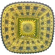 Imperial Beaded Block Canary Yellow Vaseline Glass Square Salad Plate