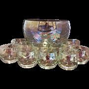 West Virginia Glass Iridescent Drape Loop Optic Punch Bowl Set