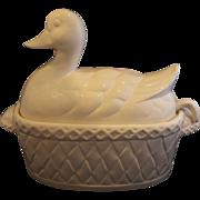 White Duck Soup Gravy Tureen Pottery Signed Japan