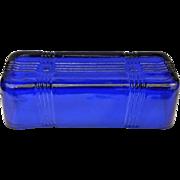 Hazel Atlas Cobalt Blue Criss Cross 1/4 Lb Butter Dish Lid Only