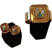 * RARE! Bergere Kaleidoscope Clamper  Bracelet and Earrings Set