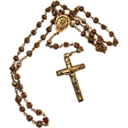 Circa 1940's: Sterling  Caged Ruby  Crystal Rosary