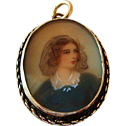 Circa 1860's: Miniature Portrait Pendent in Sterling