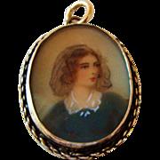 Circa 1860's: Miniature Portrait Pendent in Sterling