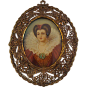 Antique; Miniature Portrait of 17th Century Beauty