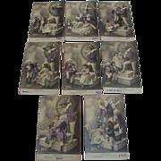 """Antique French Postcard Set """" Le Batteleur """""""
