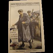 Circa 1909: French Suffrage Poster Postcard * Profound Image *