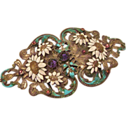 Art Nouveau : Enameled and Stone Studded Heart Shaped Belt Buckle