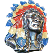 Circa 1930's:  Rare Native American Chief Brooch