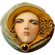 "Sylvia Massey Lady Face  Brooch "" Wind Swept Siren """