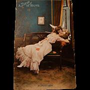 "Raphael Tuck's & Sons Valentine Postcard "" A Stolen Kiss """