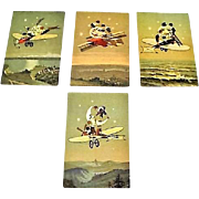 "Circa 1910: "" Journey To The Moon "" Rare Set German Postcards"