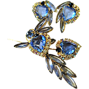 Romantic & Rare Julianna , DeLizza & Elster,Ice  Glacier Blue Hearts Spray Brooch and Earrings