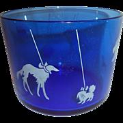 SOLD Cobalt Hazel Atlas Ice Bucket with Show Dogs
