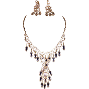 Fabulous Large Drippy Clear Rhinestone necklace with Matching Shoulder Duster earrings