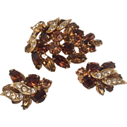 Weiss Amber and Champagne rhinestone Pin and Earrings Set