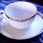 SALE KPM Pattern 27044 Cup and Saucer Set, Gold Trim, Blue Border with Roses and ...