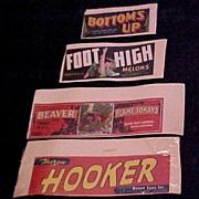 SALE Four Fruit Crate Labels, circa 1940-50s