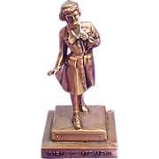 SALE Copper Girl Scout Award Statue, Uninscribed, Dangerfield Design, circa 1960