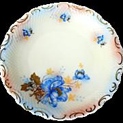 "Pair of Pre War German Schumann Bavaria Gold Scroll Blue Flower Embossed Dinner Plates 10.5"""