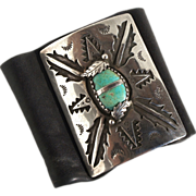 Vintage Hand Crafted Navajo un Signed Sterling Silver Turquoise Leather Wrist Bow Guard Ketoh