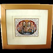 SOLD Vintage Signed Mughal Miniature Painting Signed RK Sharma Jaipur set w/ precious gemstone