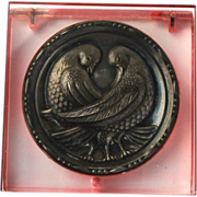 Vintage Art Deco Peachy Pink Lucite Sterling Silver Lovebird Compact
