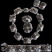 Vintage Art Deco Signed Hobe Sterling Silver Rose Floral Necklace Bracelet Pendant Brooch ...