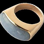 Vintage Chinese Yellow Gold Grey Lavender Jade Saddle Ring Sz 7.75