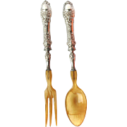 Antique French 950 Silver Emile Huignand c1880 Dolphin and Mask Rococo Salad Servers Original