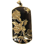Vintage Estate 14k Yellow Gold Rose and Butterfly Overlay Mount Smoky Quartz Gemstone Pendant
