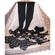 SOLD Reserved -Antique Victorian Mourning Collection Lace Collars,Gutta Percha Pin,Stockings