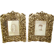SALE Fabulous Pair Antique Victorian Cast Iron Cherub Frames Repousse Picture Frames