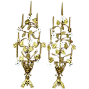 """Exquisite 19th c. Pair French Floral Altar Candelabra 50"""" Tall"""